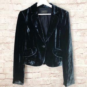 BCBG MAXAZRIA   navy blue velvet coat jacket m